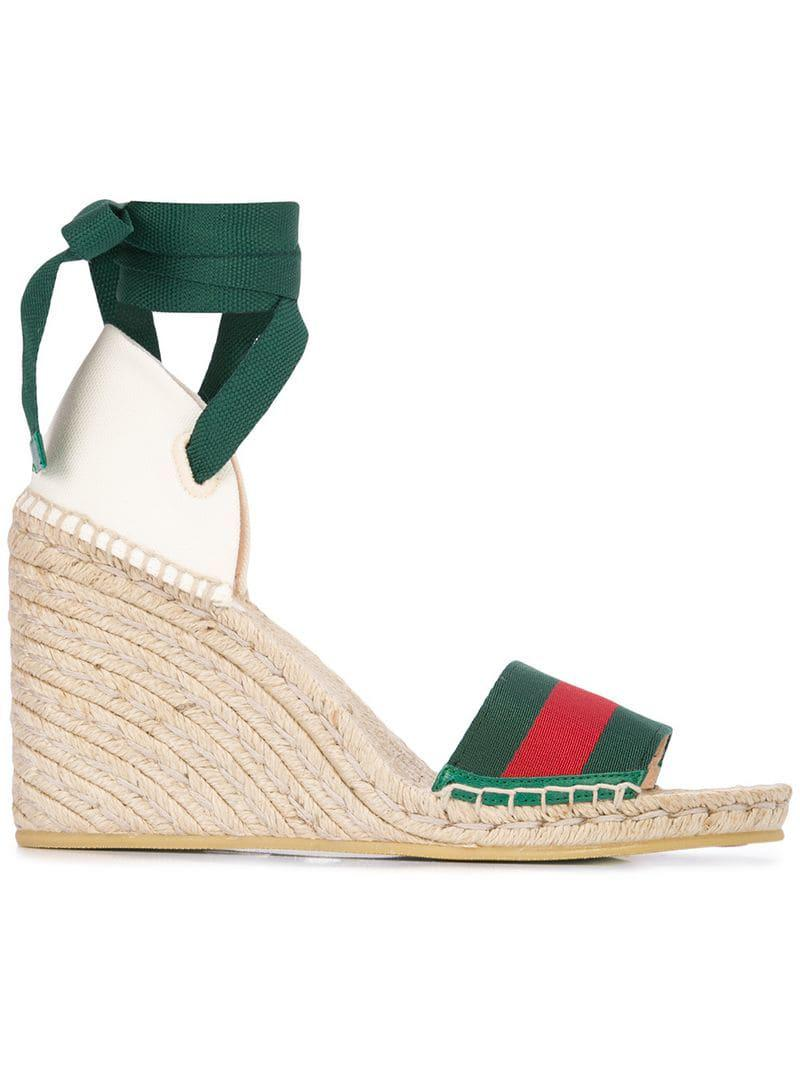 5ccff8eae5276 Gucci Beach Wedged Sandals in Brown - Lyst
