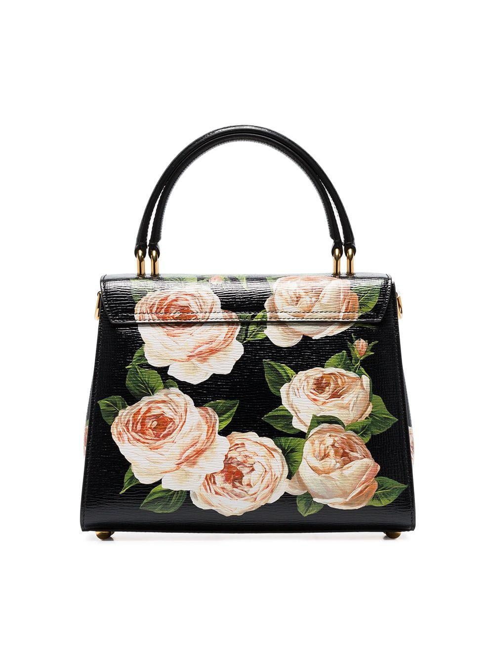 Dolce   Gabbana - Black Welcome Rose Print Leather Shoulder Bag - Lyst.  View fullscreen 26c22fb27b91a