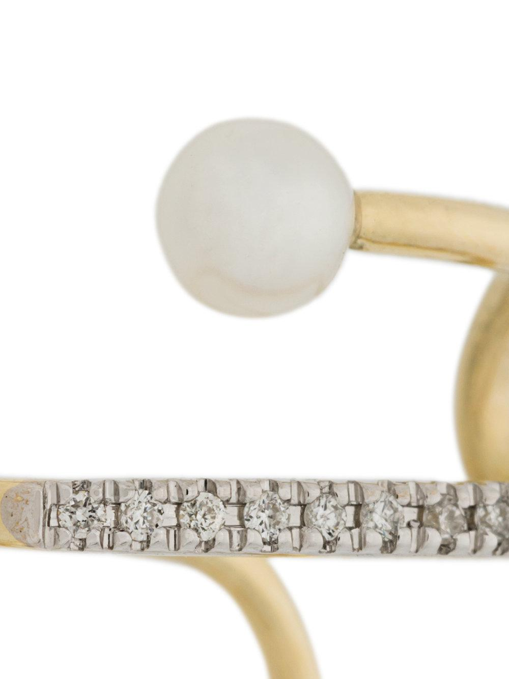 Maria Black Skyrush diamond and pearl earcuff - Metallic BiaYSuEe