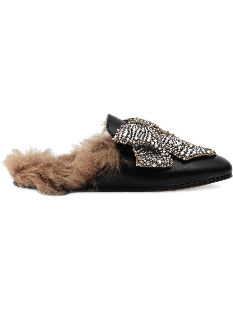 62ddeac9f2c Lyst - Gucci Crystal Bow Princetown Leather Mules in Black - Save 53%