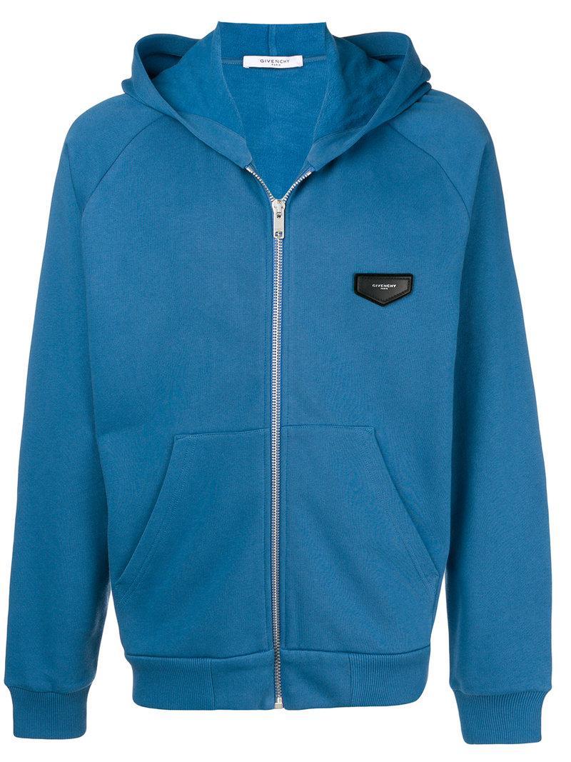 Coloris Lyst Poitrine Pour Homme Sweat À Logo En Givenchy Zippé Bleu Uqzqp1