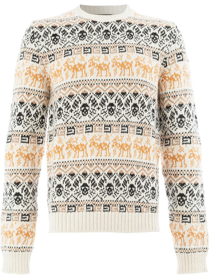 a9e5cf11711 Lyst - Pull à mélange de motifs Gucci pour homme en coloris Blanc