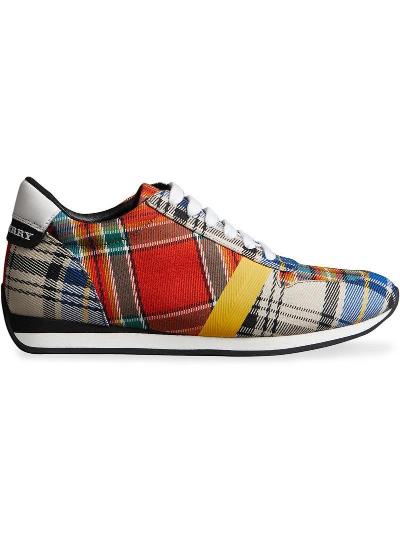Chaussures De Sport En Coton Tartan - Multicolor Burberry jWWrVqu