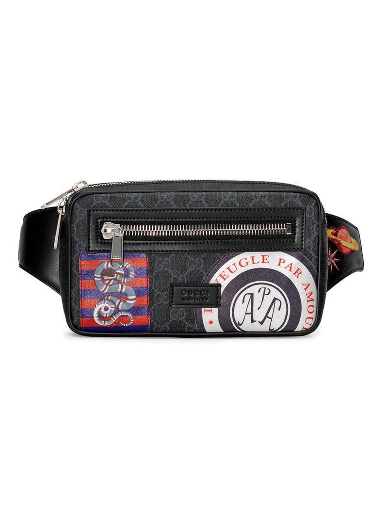 7d898ee73e1 Gucci Night Courrier Soft GG Supreme Belt Bag in Black for Men - Lyst