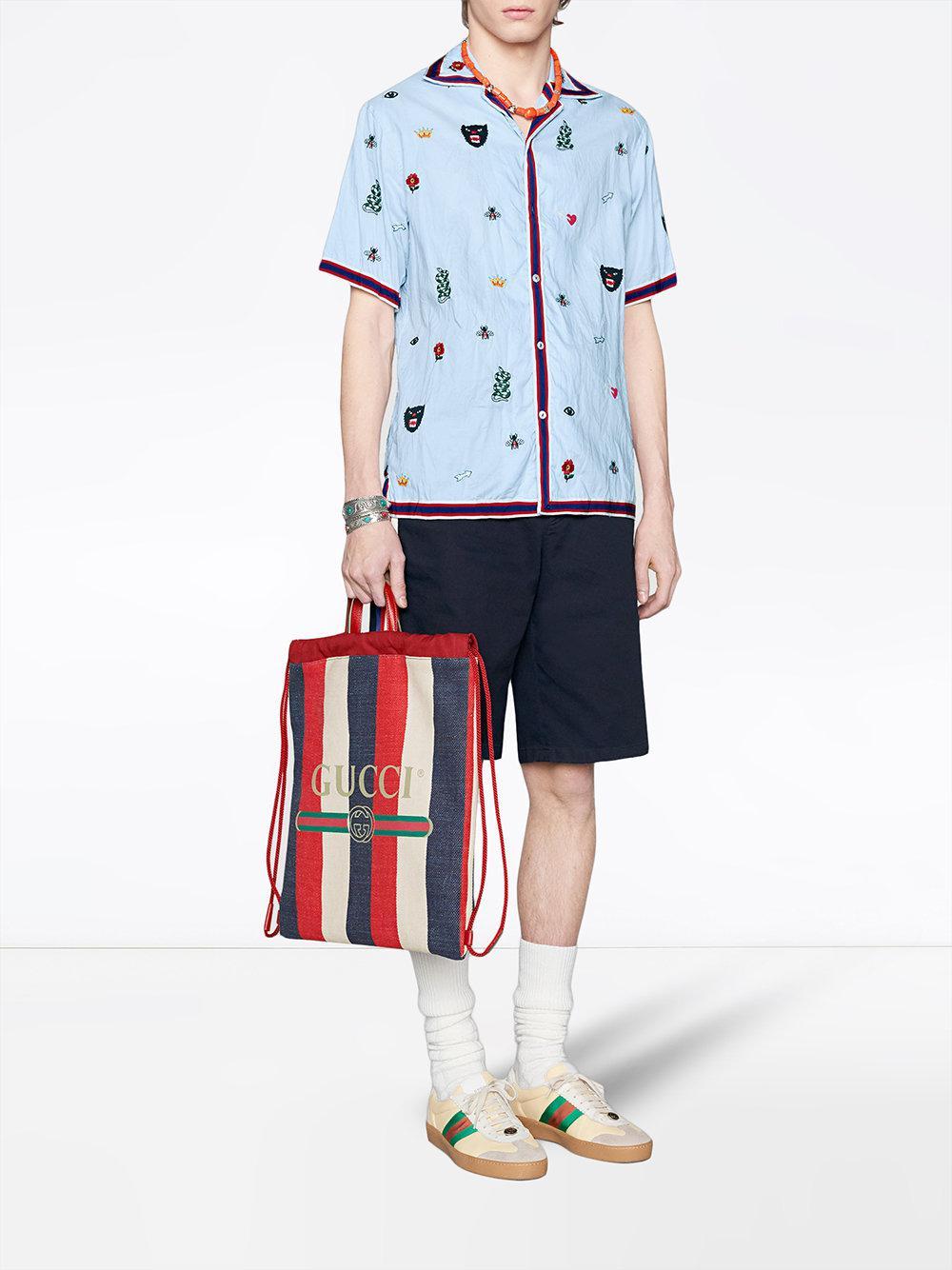 09c3d77771af Gucci Print Medium Drawstring Backpack in Red for Men - Lyst