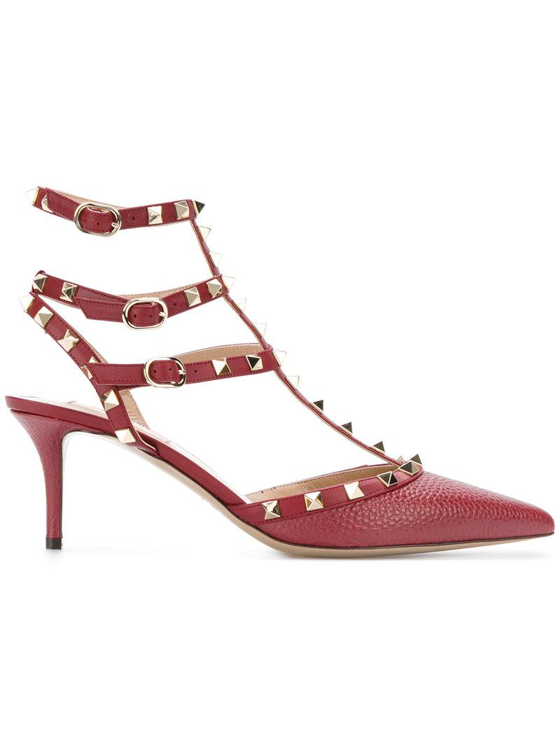 2a368567d0fa Lyst - Valentino Garavani Rockstud Pumps in Red - Save 40%