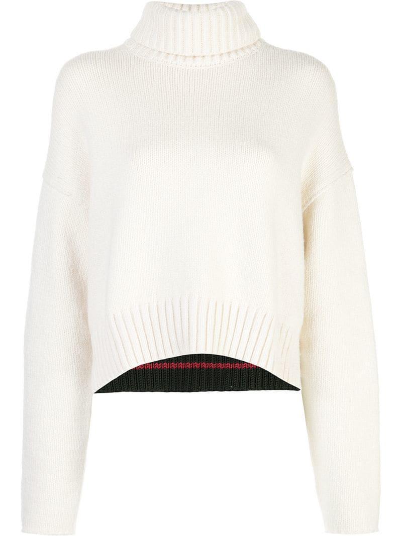 3bca500d86f61 Lyst - Proenza Schouler Cotton Cashmere Turtleneck Sweater in White