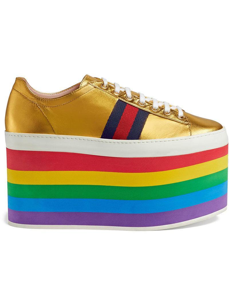 22e72ac4a Gucci Metallic Platform Sneaker in Yellow - Lyst