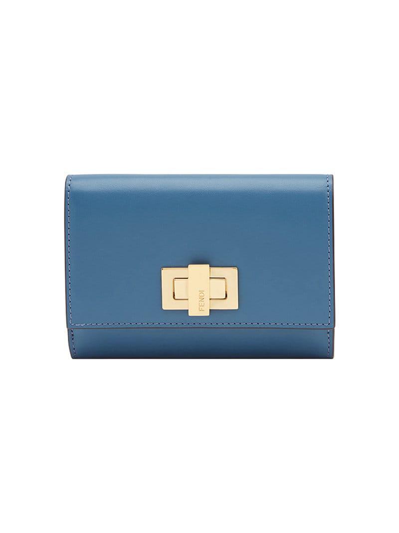 118477c06a0c Fendi Peekaboo Selleria Wallet in Blue - Lyst