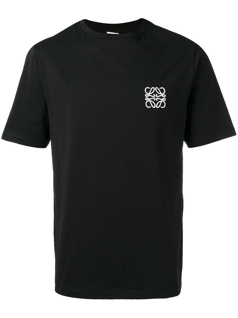 Lyst loewe logo embroidered t shirt in black for men for T shirt logo embroidery