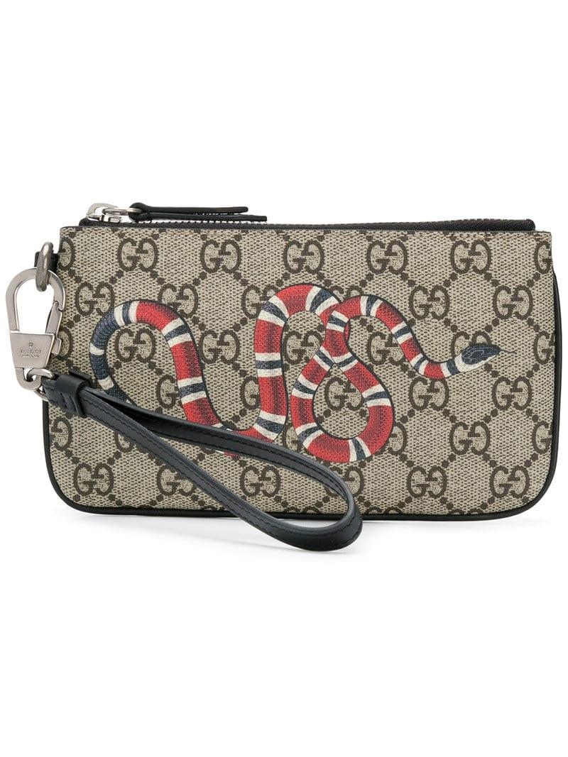 496fa8aadb22a Lyst - Gucci Snake Print GG Supreme Card Holder in Brown for Men