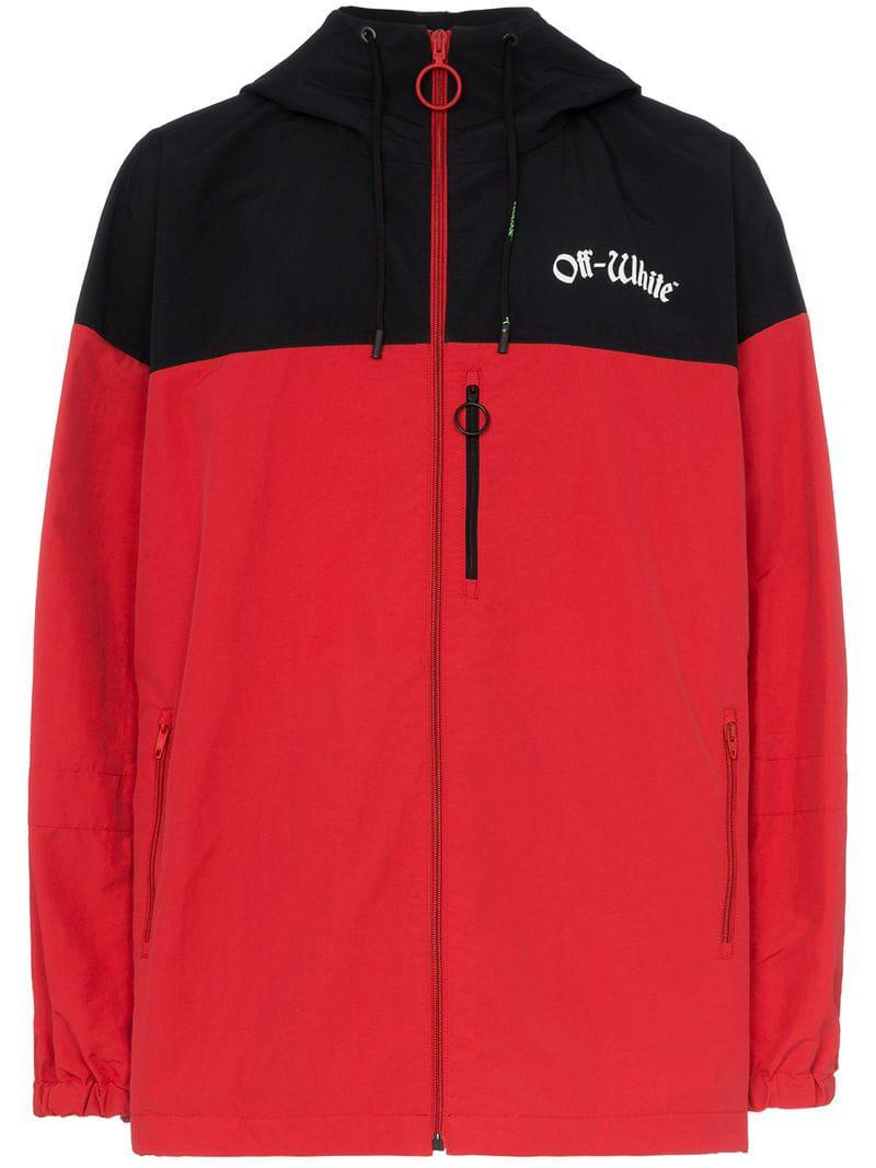 74e095ba0397 Lyst - Off-White c o Virgil Abloh Logo Hooded Windbreaker in Red for ...