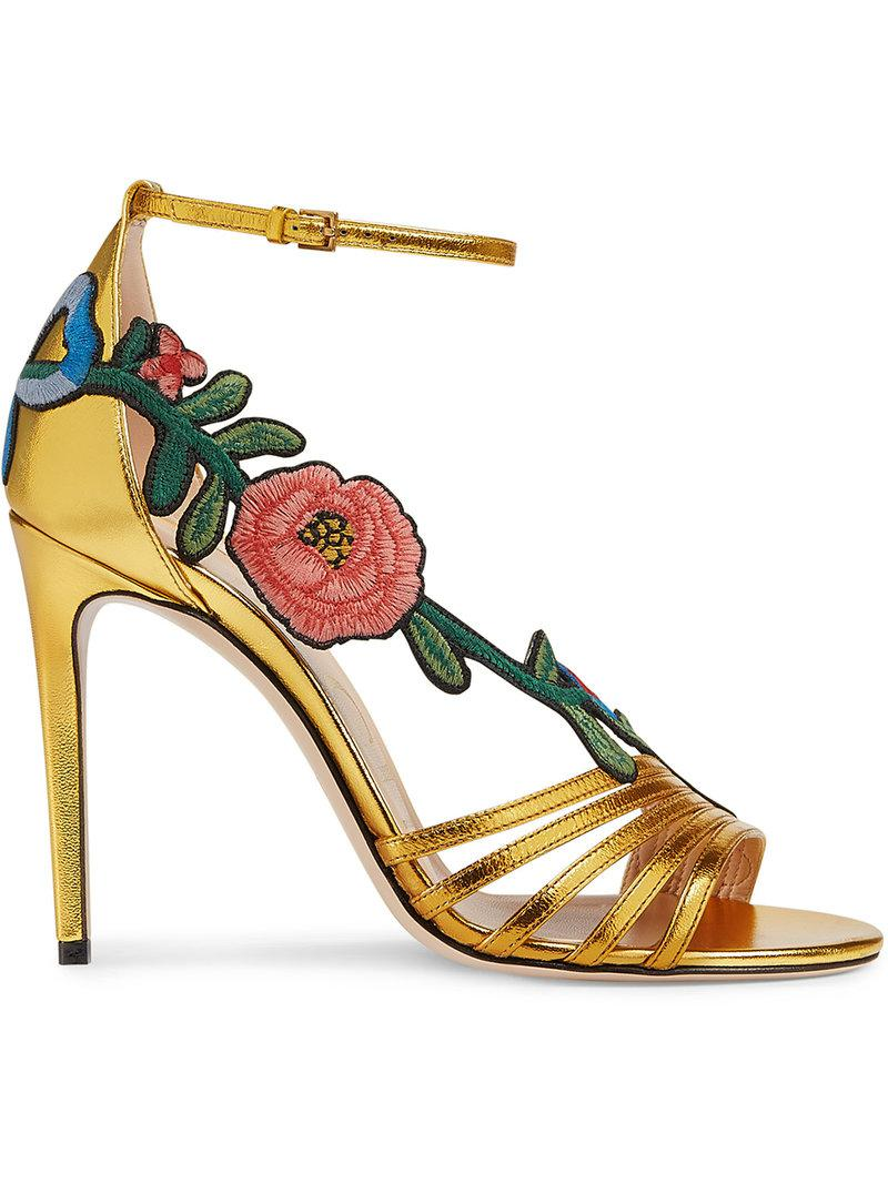 9708068d0 Lyst - Gucci Gold Ophelia 110 Leather Sandals in Metallic - Save ...