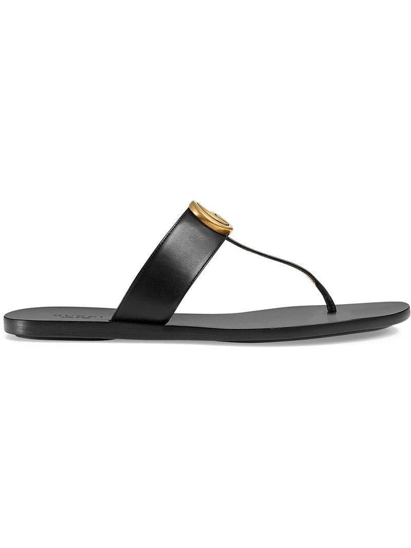 79d62ecd0223 Lyst - Gucci Black Double G Leather Thong Sandals in Black - Save 17%