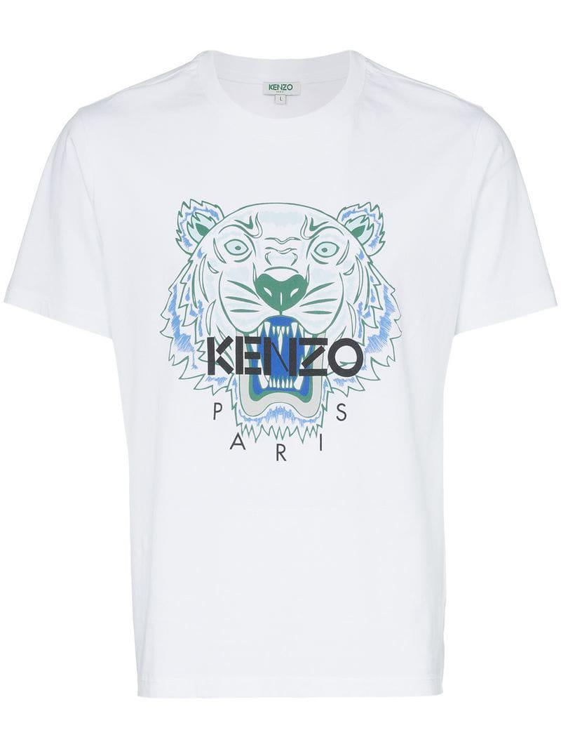 9516b9890f30 KENZO Cotton Tiger Logo T-shirt in White for Men - Lyst