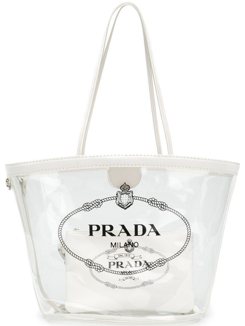 fe15b4d07623 ... shoulder bag 38a42 5859b; australia lyst prada transparent logo print  tote in white dd294 8fb78