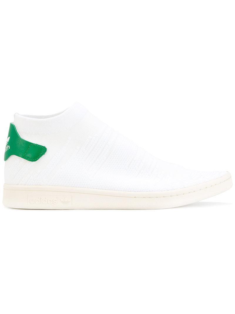 lyst adidas originali stan smith shock primeknit scarpe bianche