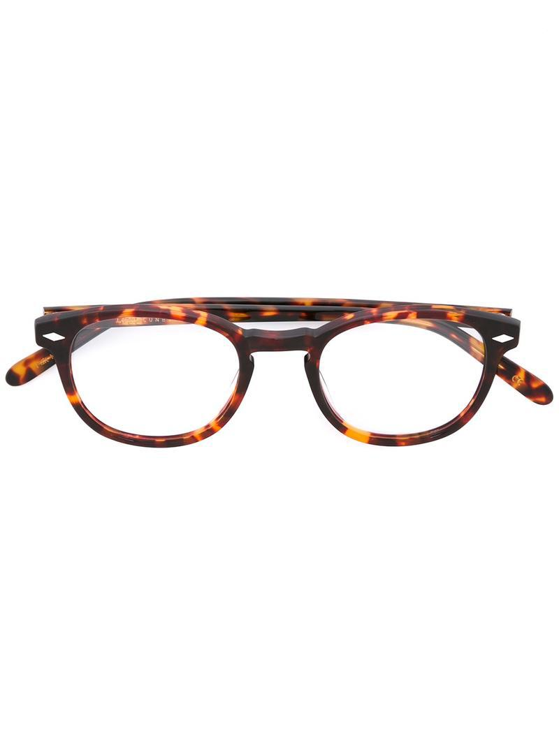 c631294476 Lesca  711  Tortoiseshell Glasses in Brown - Lyst