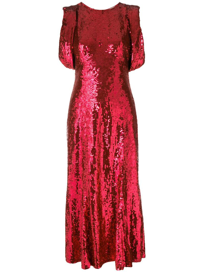 Lyst Attico Sequined Fitted Evening Dress In Red