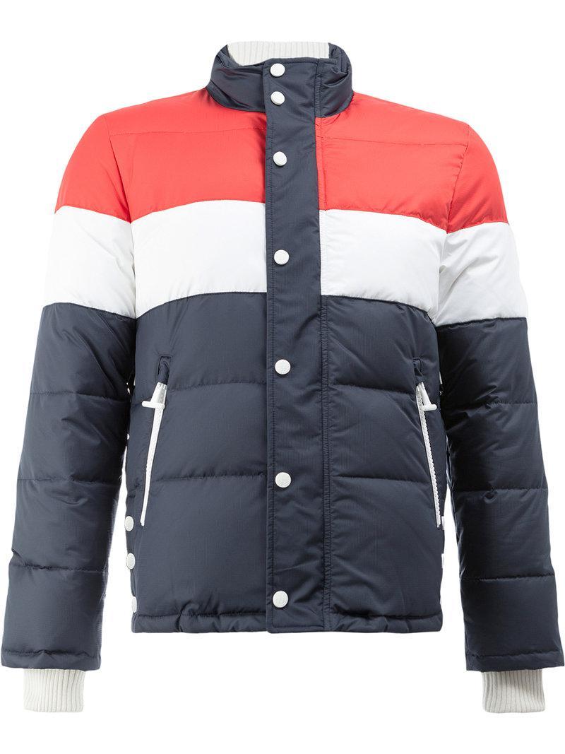 6f4e894682 Thom Browne. Men's Gray Three Panel Downfilled Funnel Collar Ski Jacket ...