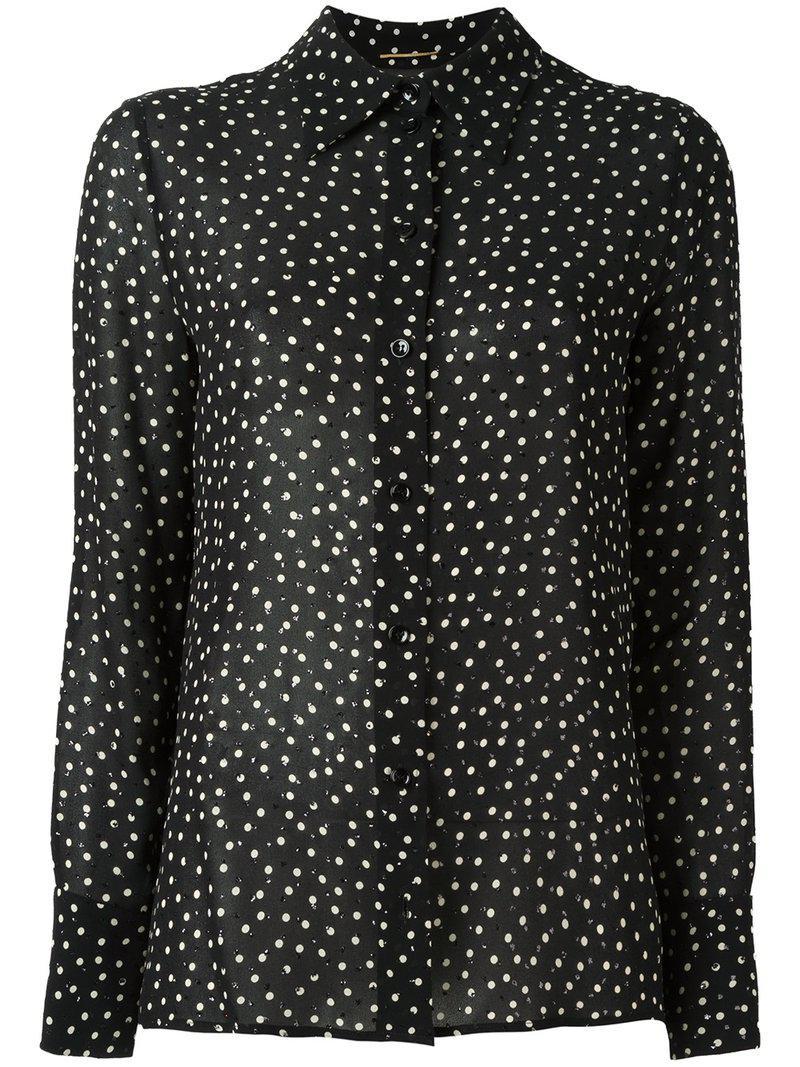 e9e9948f Saint Laurent Sequin Embellished Printed Shirt in Black - Lyst
