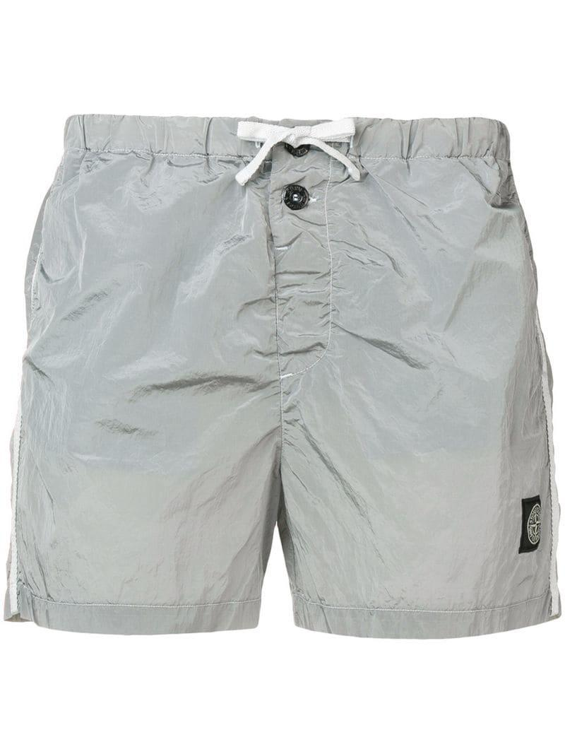 fada70a0ee Lyst - Stone Island Logo Patch Swim Shorts in Gray for Men
