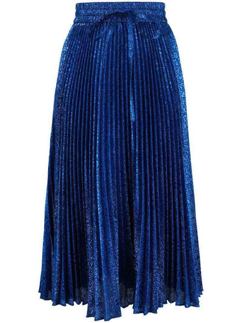 40862df03febc Lyst - Falda plisada de lurex RED Valentino de color Azul