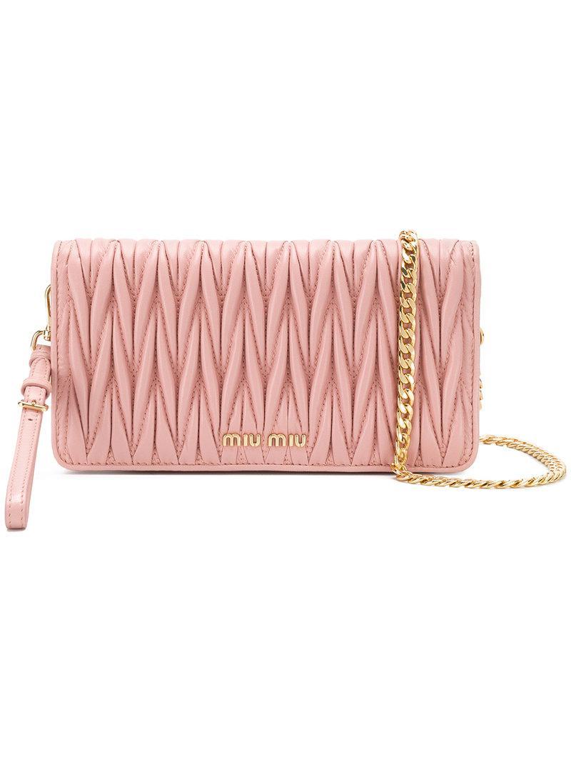 d469113227 Lyst - Miu miu Matelassé Chain Wallet in Pink