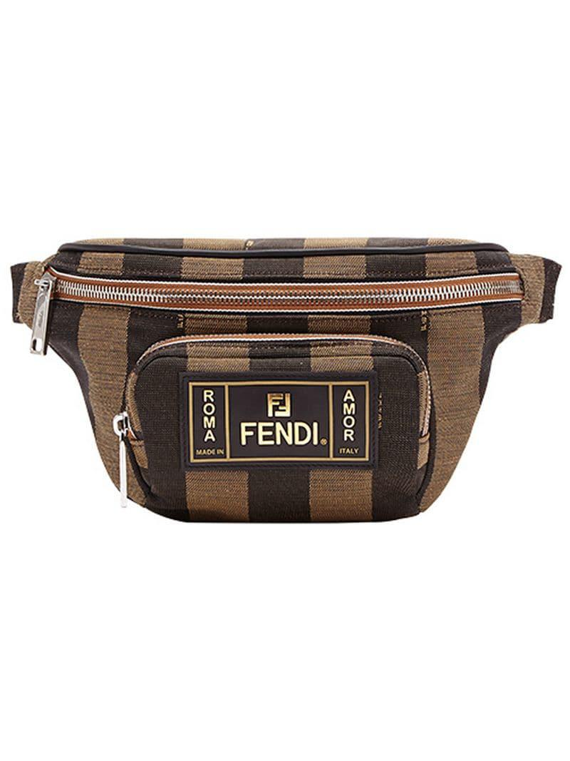 e810f7c40807 Fendi - Brown Striped Belt Bag for Men - Lyst. View fullscreen