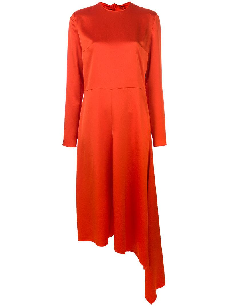 asymmetric hem bow-back dress - Red Msgm IsbHd