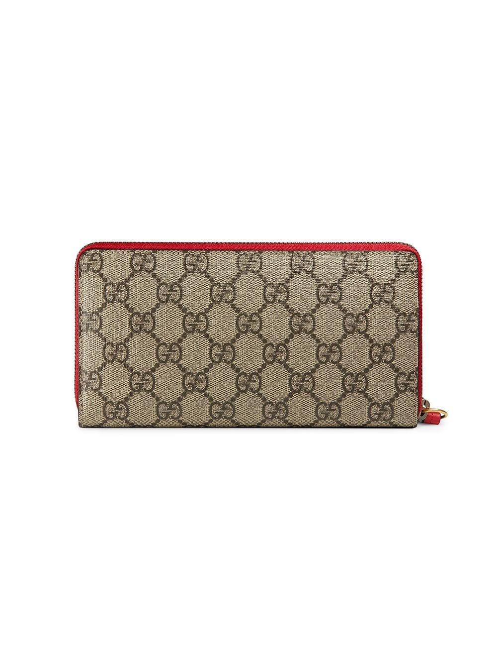 dd79e4221e29 Lyst - Gucci GG Supreme Zip Around Wallet With Cherries in Brown