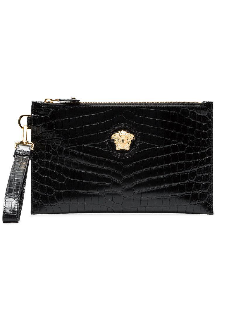 2f34d290997c Lyst - Versace Black Medusa Leather Clutch Bag in Black
