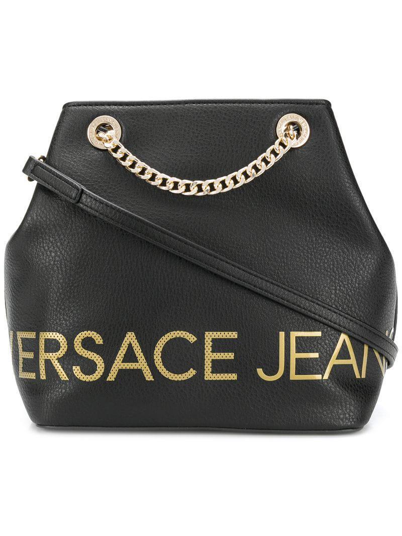 e736d8d04997 Lyst - Versace Jeans Logo Bucket Bag in Black