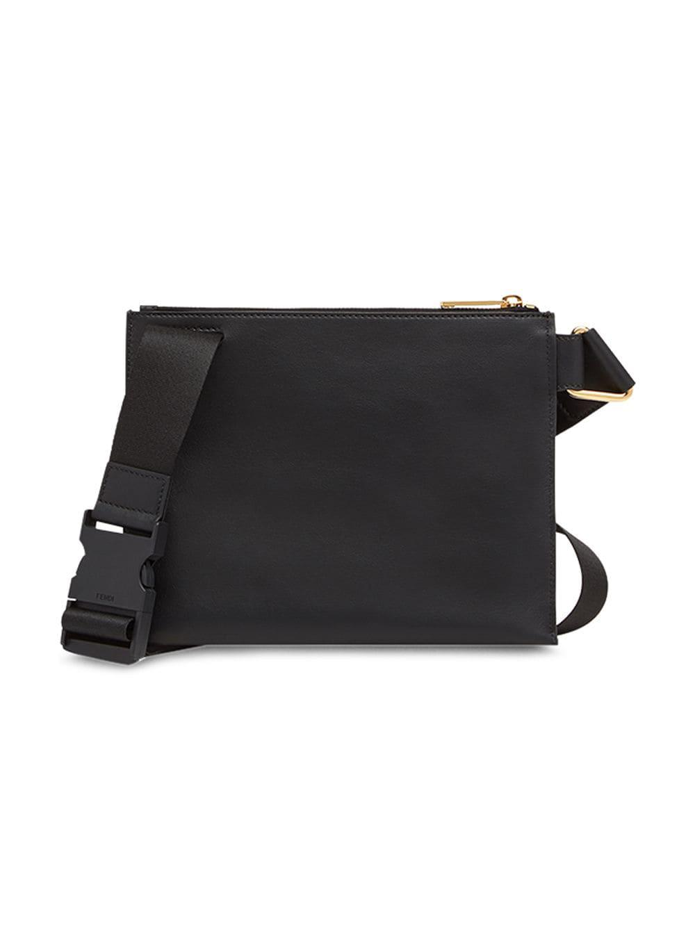 7eb592dbc688 Fendi - Black Slim Zipped Messenger Bag for Men - Lyst. View fullscreen