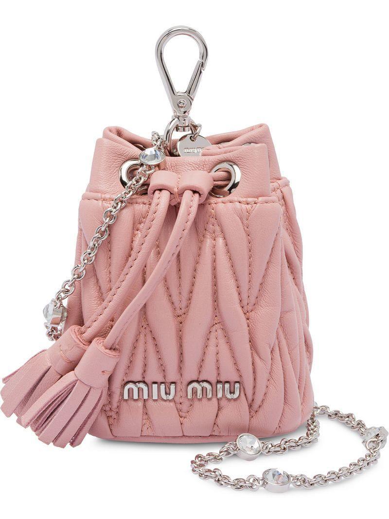 8bdc0f1e7f32 Miu Miu Matelassé Leather Mini Shoulder Bag in Pink - Lyst
