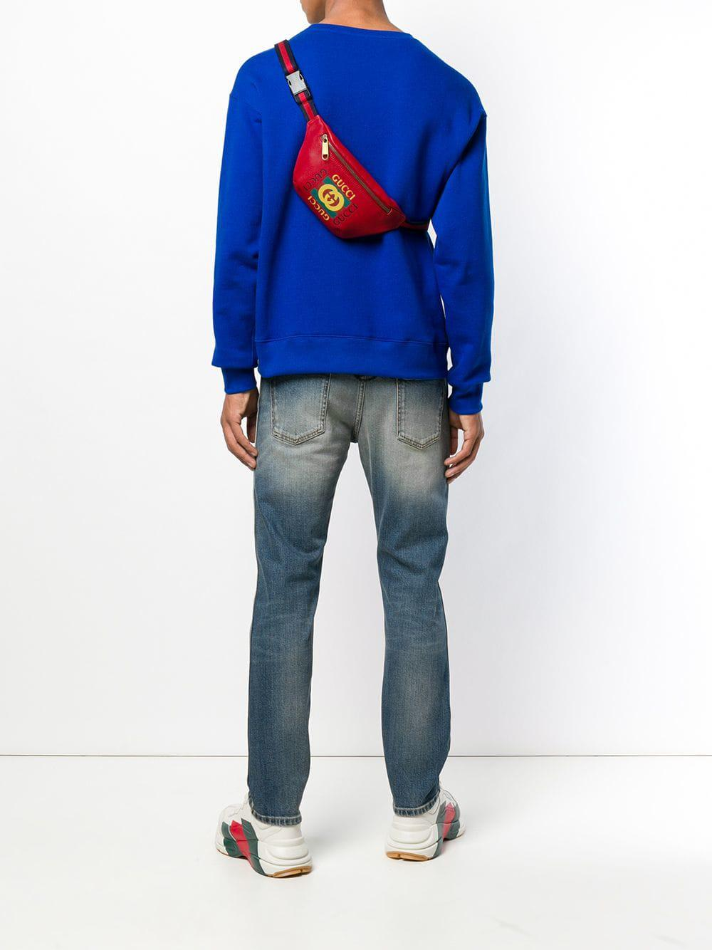 b76d603c7d11 Gucci - Red Logo Belt Bag for Men - Lyst. View fullscreen