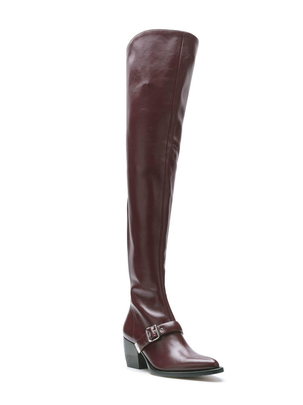 a885993b15e Lyst - Chloé Buckle Over-the-knee Boots in Red