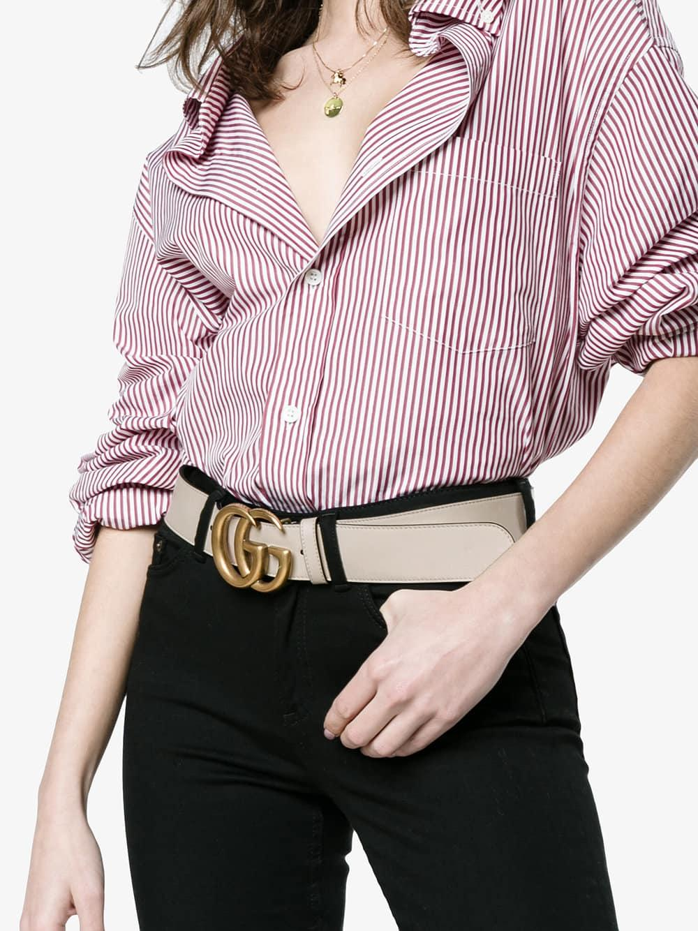 7de7a15e2 Lyst - Gucci White Leather Belt With Double G Buckle in White - Save 22%