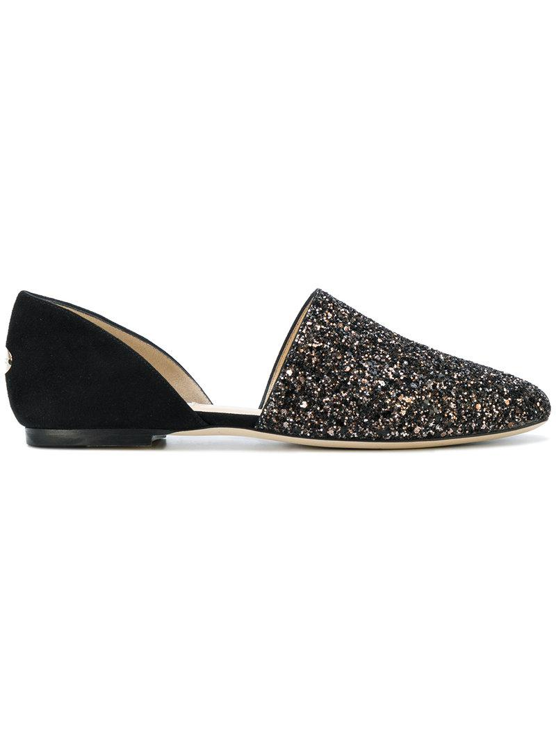 Slipper GLOBE FLAT suede black fabric glitter bronze Jimmy Choo London f215qQu