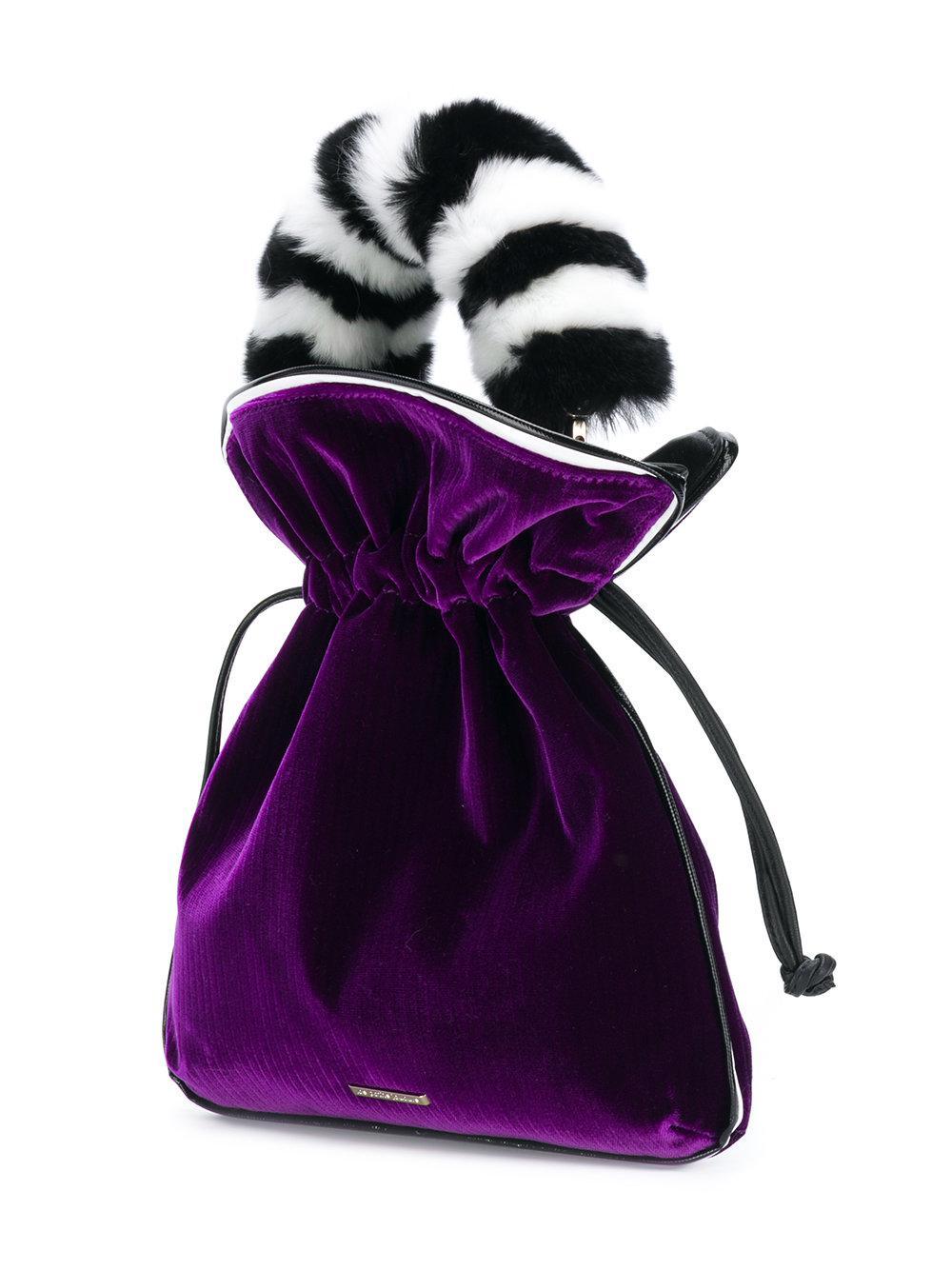 fur handle drawstring satchel - Pink & Purple Les Petits Joueurs aQrTG