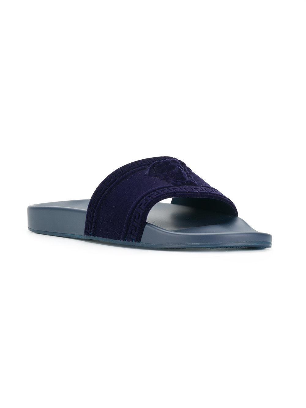 d2434fd4fd23 Lyst - Versace Medusa Slides in Blue for Men