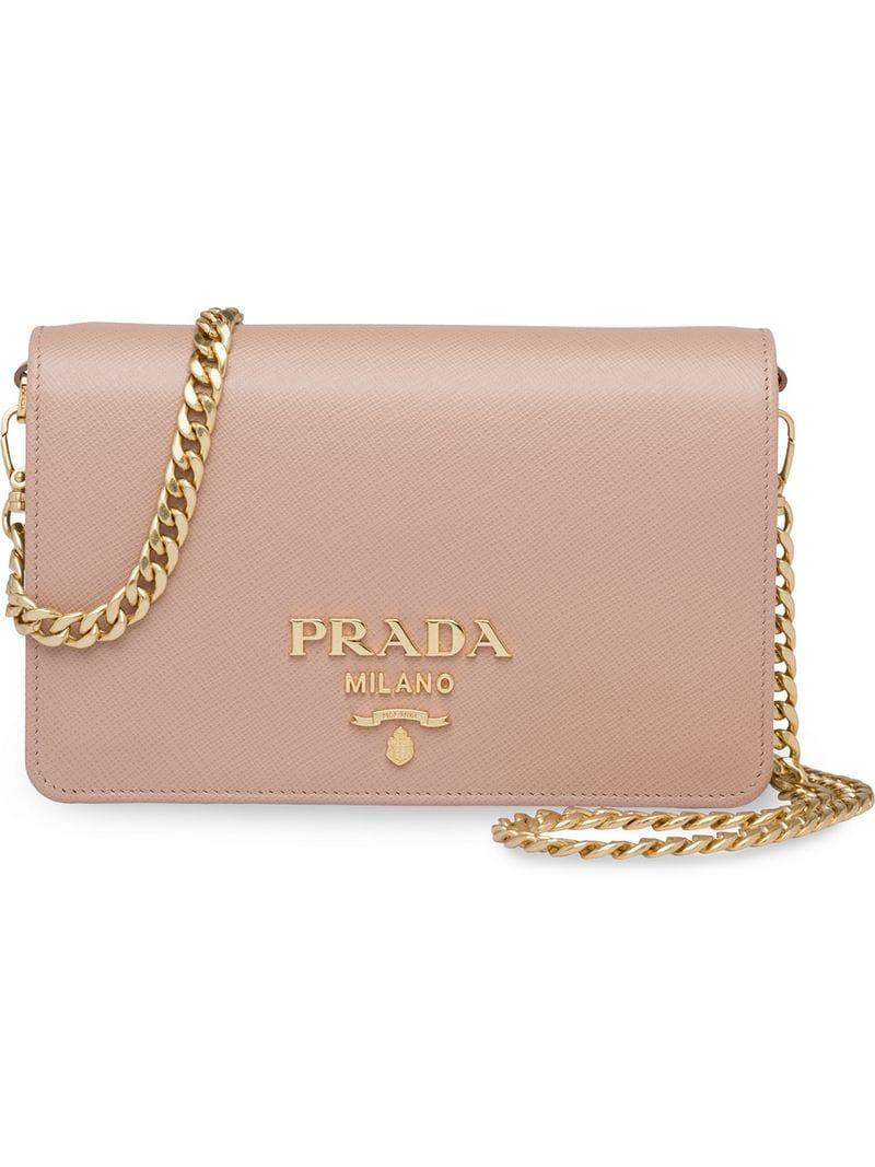 3b8ff59421a4 Prada Logo Shoulder Bag in Pink - Save 17.592592592592595% - Lyst