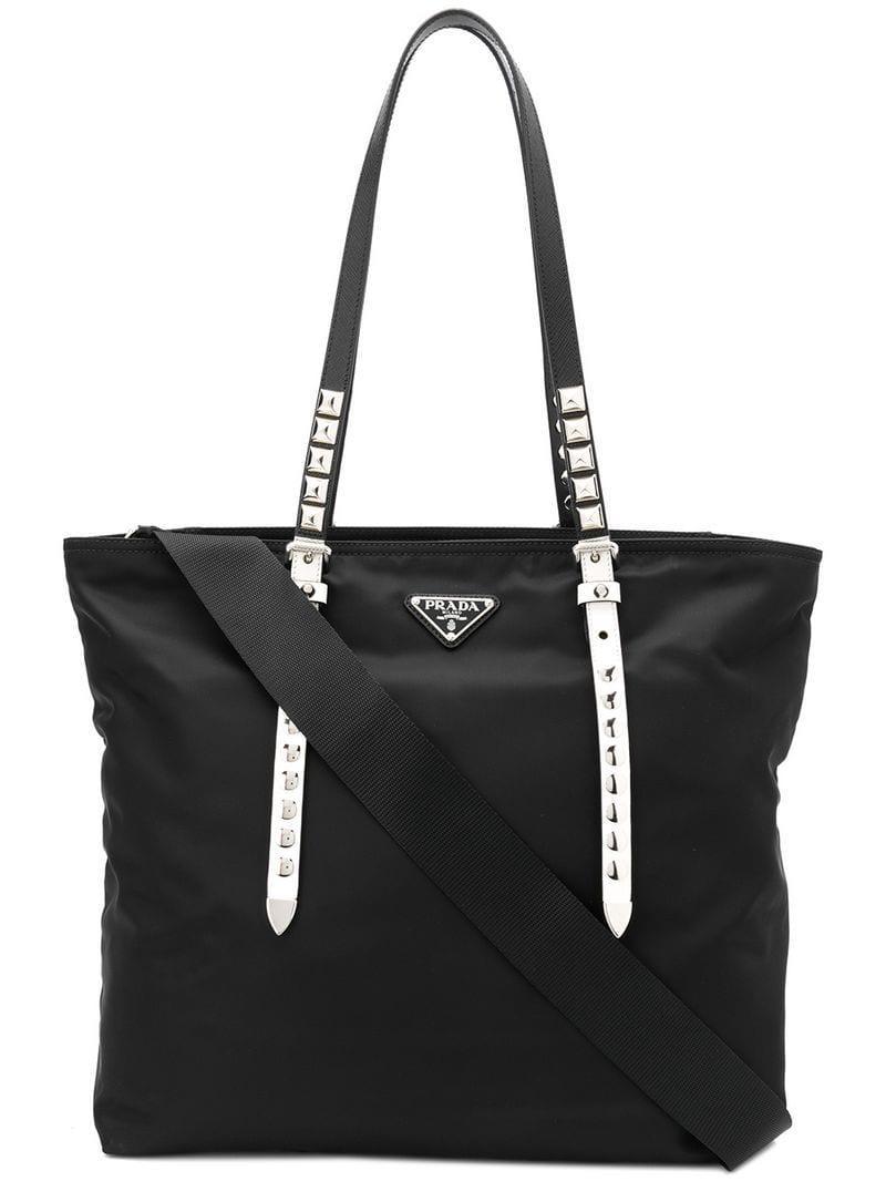 5ce12c71e5c Prada - Black Studded Tote Bag - Lyst. View fullscreen