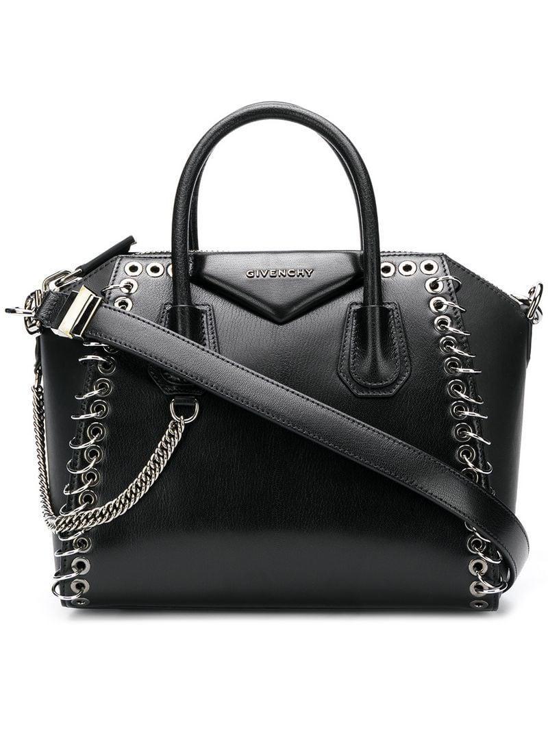 e80ff5e7271a Givenchy Black Antigona Eyelet Leather Tote in Black - Save 30% - Lyst