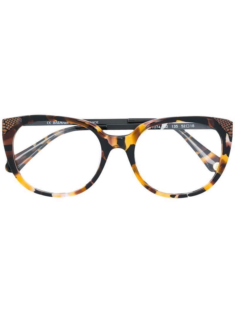 426ce2de5e Balmain Tortoiseshell Effect Cat-eye Glasses in Brown - Lyst