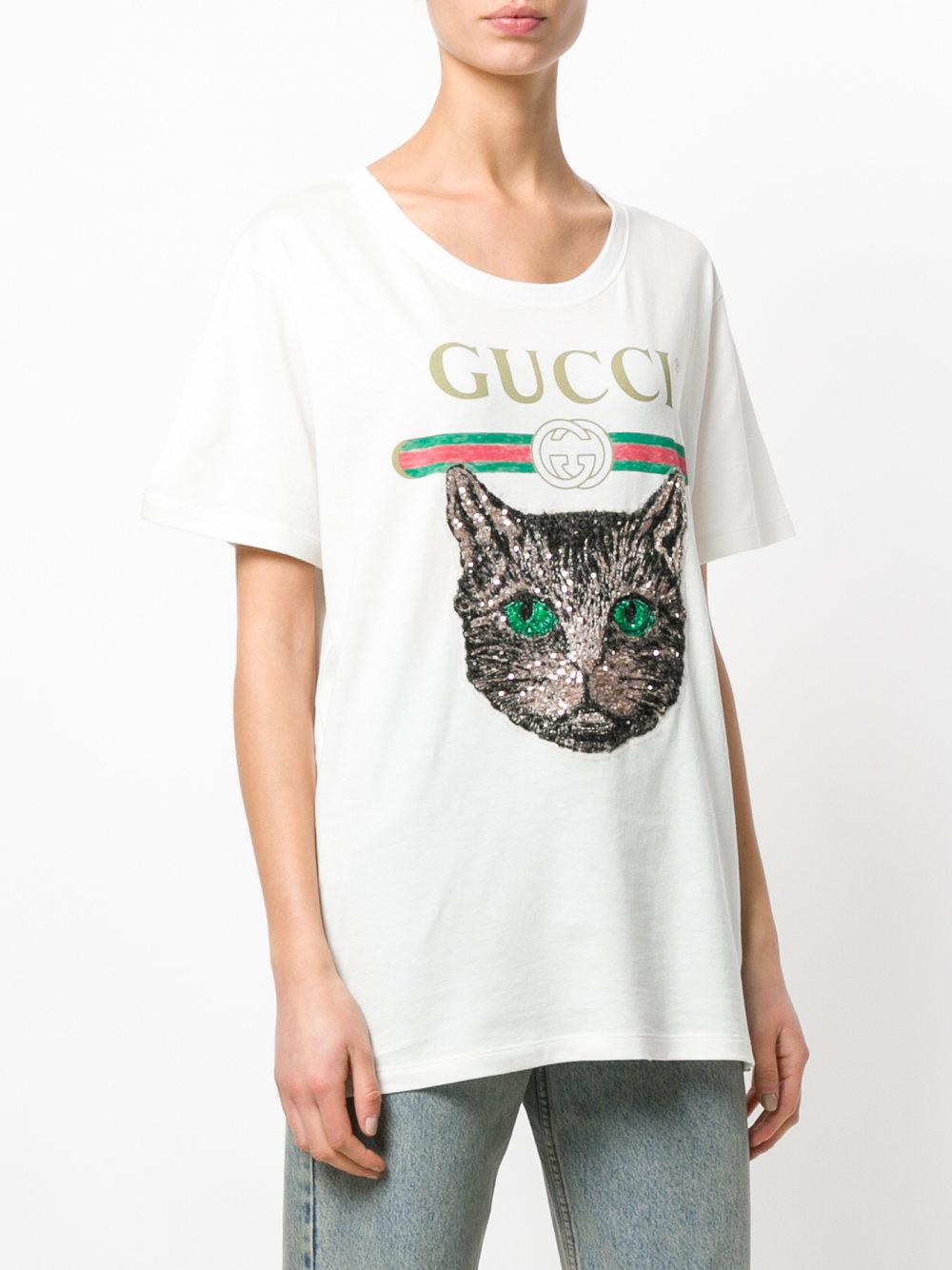 9711ff65a660 Lyst - Gucci Logo T-shirt With Mystic Cat in White