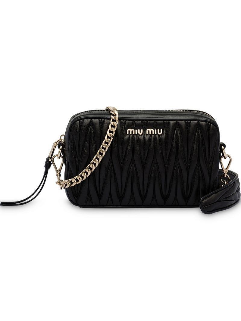 b7287af5d3 Miu Miu - Black Matelassé Shoulder Bag - Lyst. View fullscreen