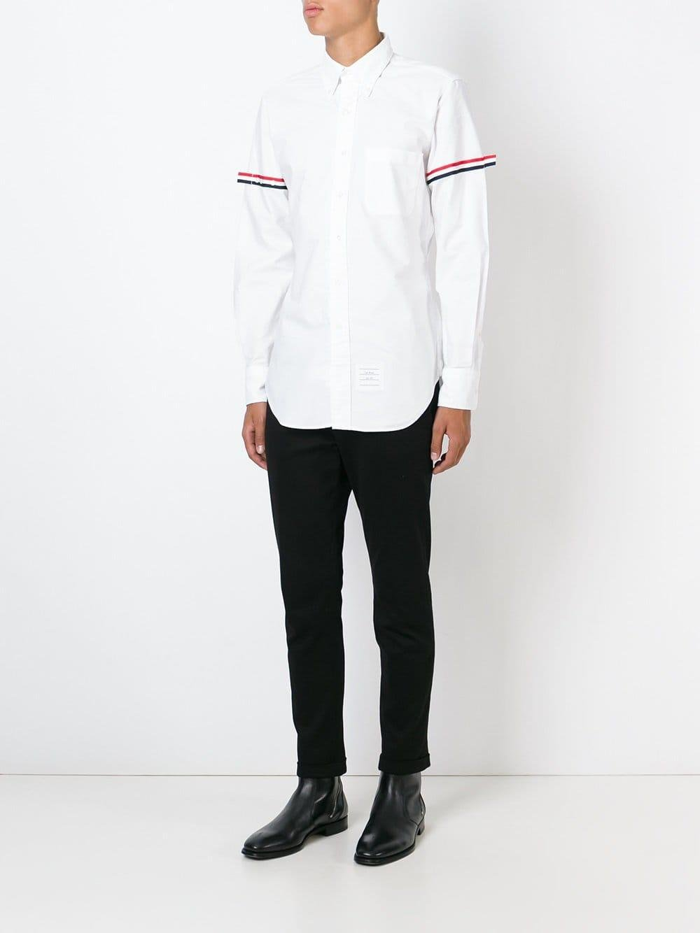 e1767b6fc2e1 Lyst - Thom Browne Striped Sleeve Shirt in White for Men - Save 40%