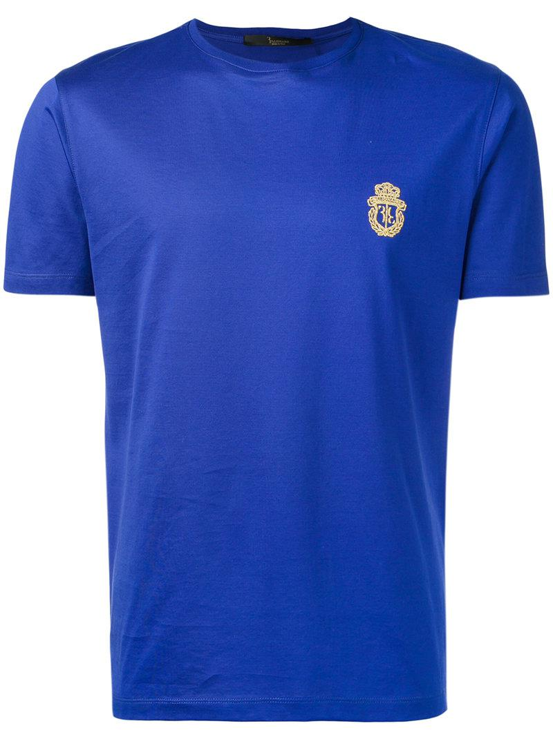 Lyst billionaire embroidered logo t shirt in blue for men for T shirt with embroidered logo