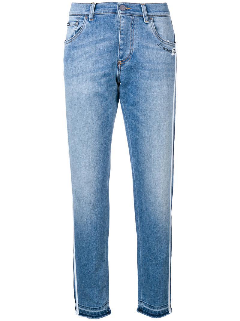 39af663c28 Lyst - Dolce   Gabbana Tapered Side Stripe Jeans in Blue for Men
